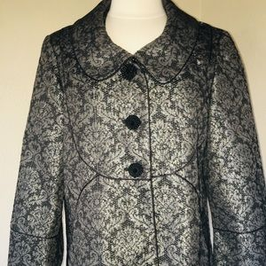 NEW Oscar de La Renta Black Silver Brocade Jacket!